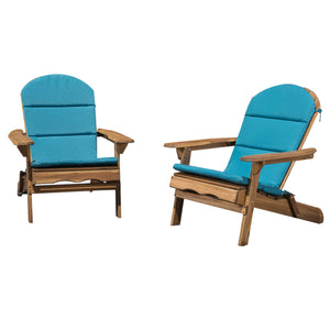 Makena Outdoor Folding Adirondack Chairs With Cushions | Color: Natural, Quantity: Set of 2, Set of 2: Chair Color, Chair Color: Natural Stained