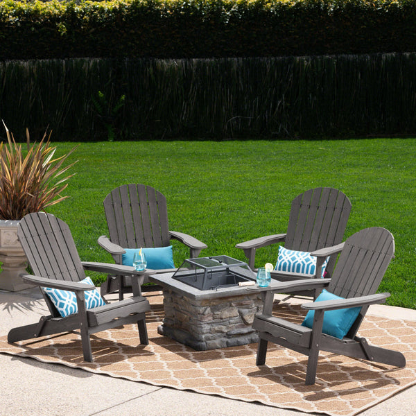 Marnie Outdoor 5 Piece Acacia Wood/ Concrete Adirondack Chair Set With Fire Pit