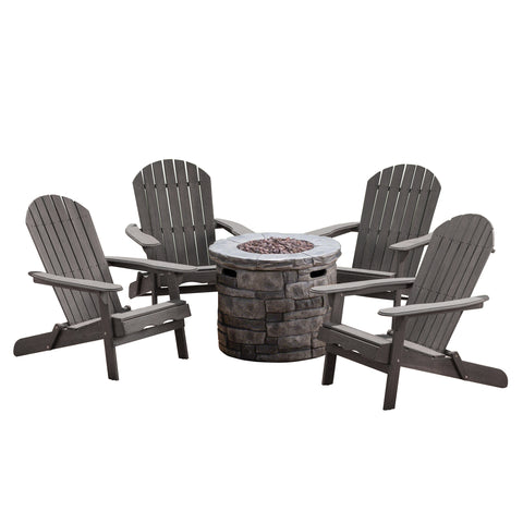 Magnus Outdoor 5 Piece Acacia Wood/ Concrete Adirondack Chair Set With Fire Pit