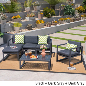 Nathaniel Outdoor 4-Seater Aluminum Sofa Set With Ottoman And Coffee Table