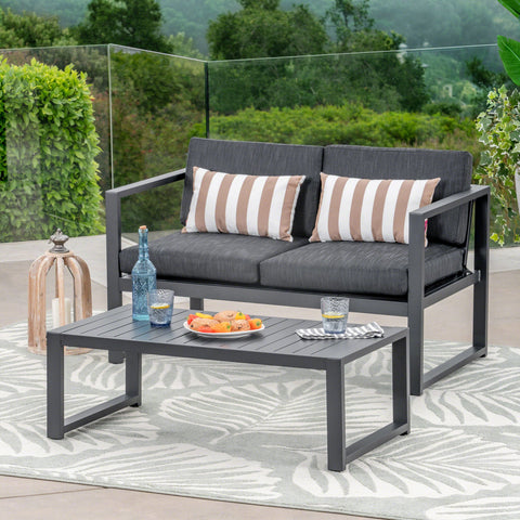 Nathaniel Outdoor Aluminum Loveseat And Coffee Table Set