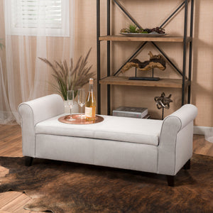Haverhill Contemporary Fabric Upholstered Storage Ottoman Bench with Rolled Arms, Light Gray and Dark Brown