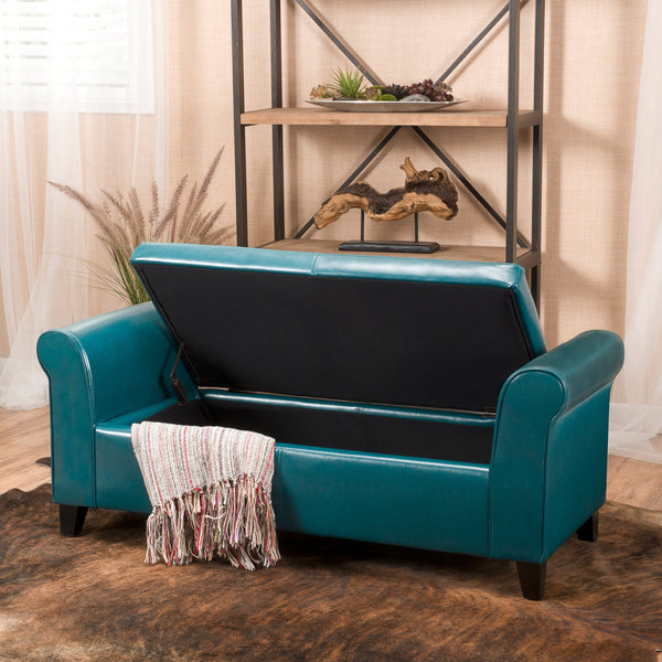 Haverhill Contemporary Upholstered Storage Ottoman Bench with Rolled Arms, Teal and Dark Brown