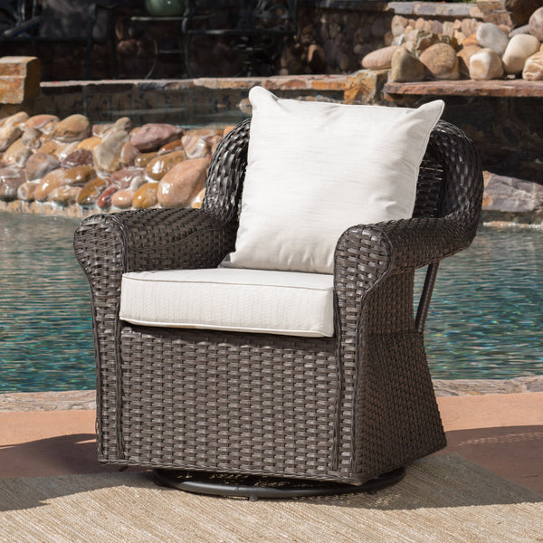 Amalee Outdoor Wicker Swivel Rocking Chair With Water Resistant Cushions