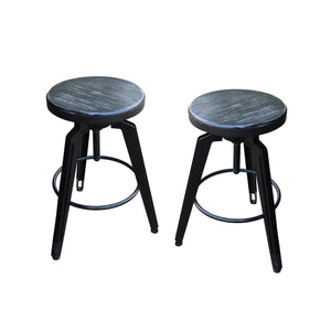 Irving Swiveling Iron Barstools With Firwood Seats