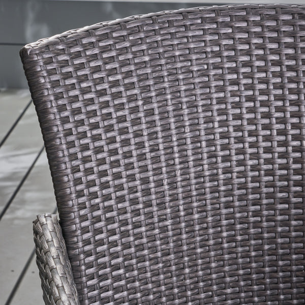 Amorie Outdoor Wicker Barstool Set | Color: Gray, Quantity : 2, 2: Color, Color: Gray