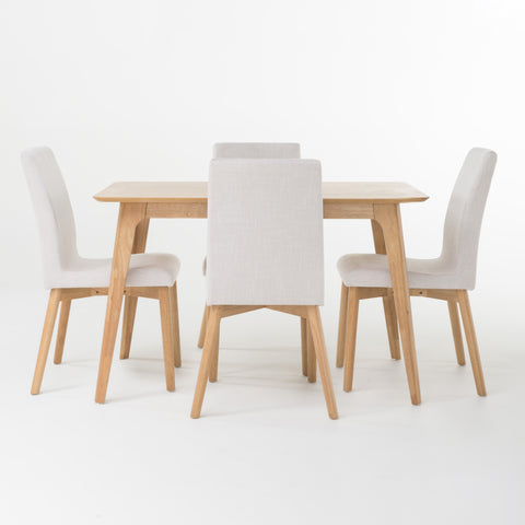 Tisbury Mid-Century Modern 5 Piece Dining Set with Upholstered Seating | Color: White, Table: 50""