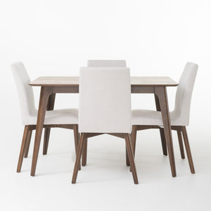 Harden Mid-Century Modern 5 Piece Dining Set with Upholstered Seating | Color: White, Table: 50""