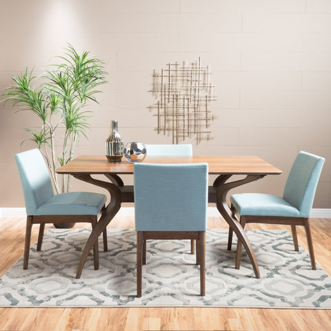 Kolin Fabric/ Natural Finish Curved Leg Rectangular 5 Piece Dining Set