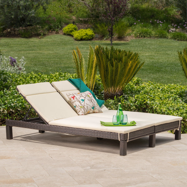Ardith Outdoor Wicker Double Chaise Lounge With Water Resistant Cushions