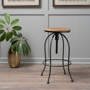 Alcove And Off Firwood And Iron Bar Stool