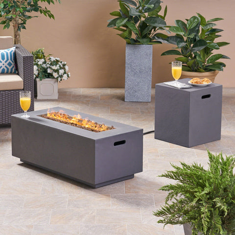 "Affrie Outdoor 40"" Rectangular Concrete Gas Burning Fire Pit"