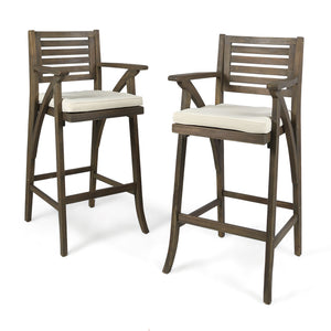 Hensley Outdoor Acacia Wood Barstool (Set Of 2)