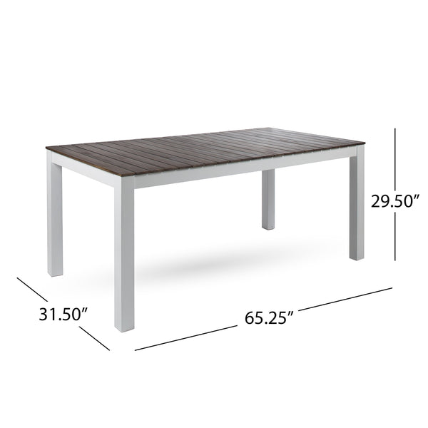 Bainbridge Outdoor Finished Acacia Wood Dining Table With Legs
