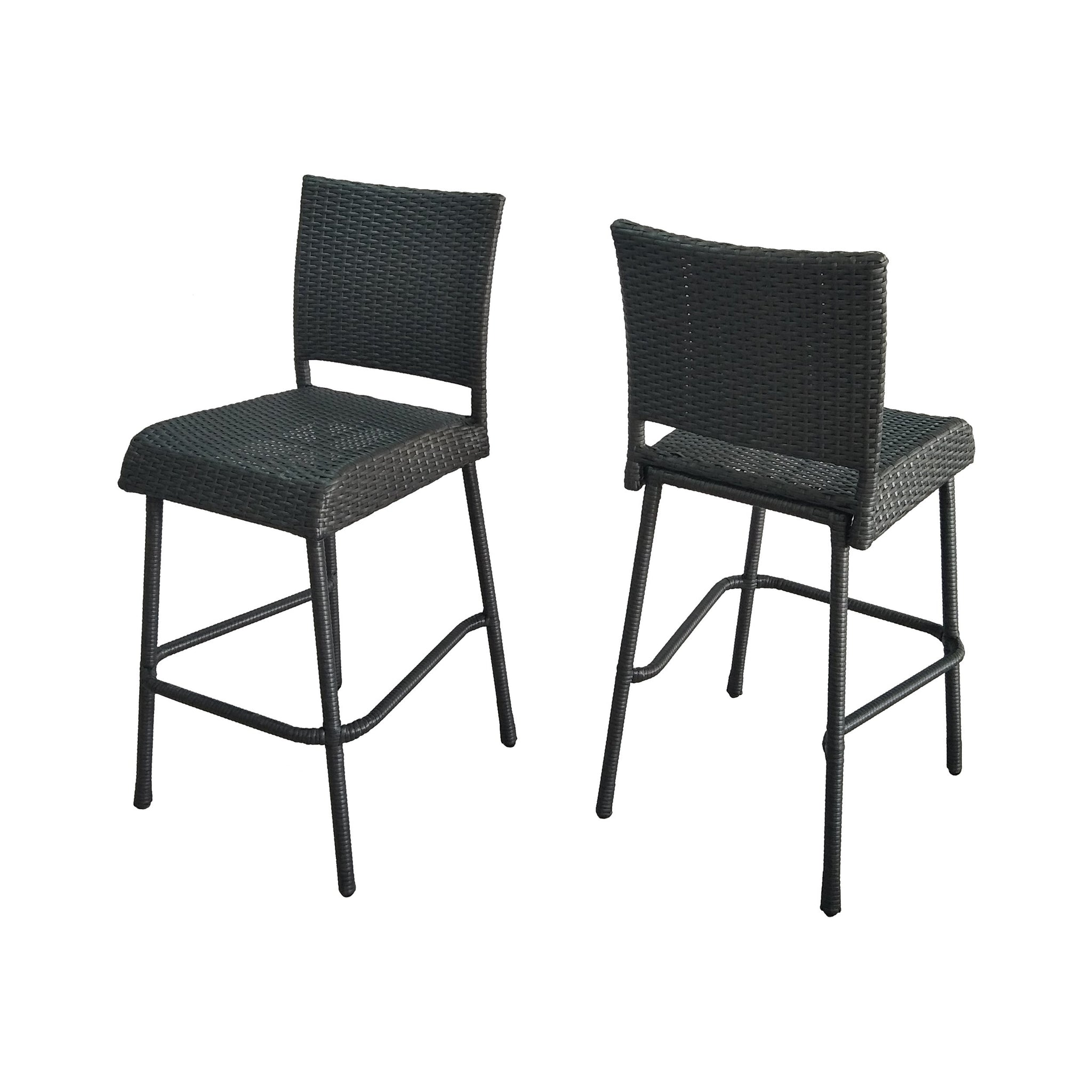 "Dominica Outdoor Wicker 29.5"" Barstools (Set Of 2)"