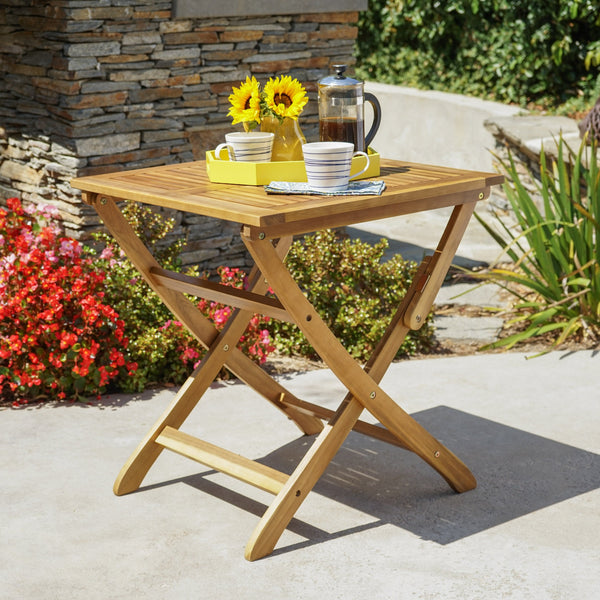 Poppy Outdoor 3 Piece Foldable Finished Acacia Wood Bistro Set