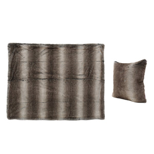 Faux Fur Pillow And Throw Set.Torin Ash Faux Furry Pillow And Throw Blanket Combo Set Of 2