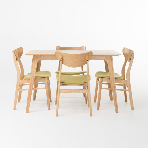 Angelique Rectangular 5 Piece Dining Set | Color: Green, Table: 50""
