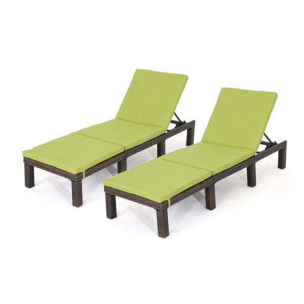 Jada Outdoor Wicker Chaise Lounge With Water Resistant Cushion (Set Of 2)
