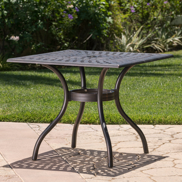 Auldearn Outdoor Cast Aluminum Square Dining Table