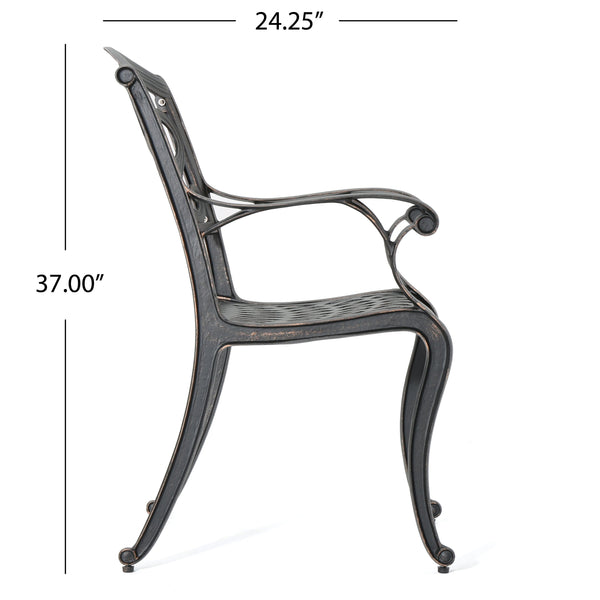 Auldearn Outdoor Cast Aluminum Dining Chairs (Set Of 2)