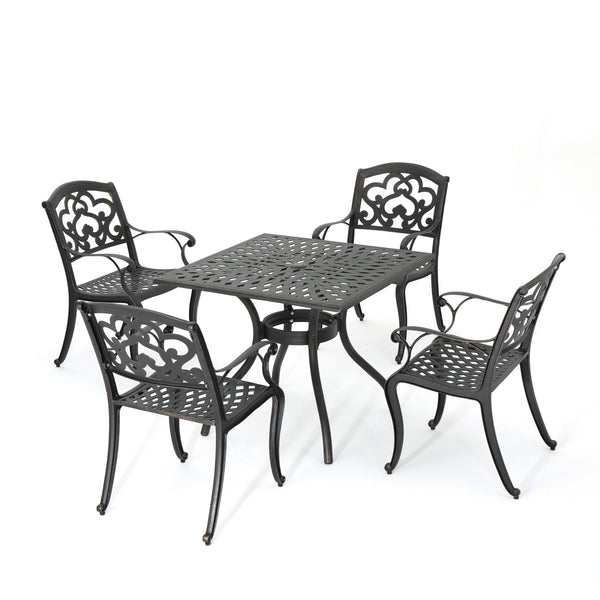 Auldearn Outdoor 5 Piece Cast Aluminum Dining Set