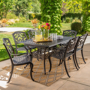 Abelia Outdoor 7 Piece Cast Aluminum Dining Set With Leaf