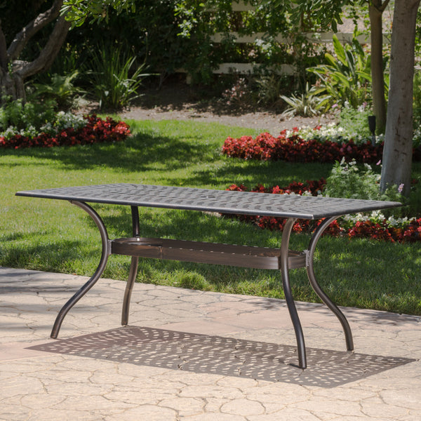 Auldearn Outdoor Cast Aluminum Rectangular Dining Table