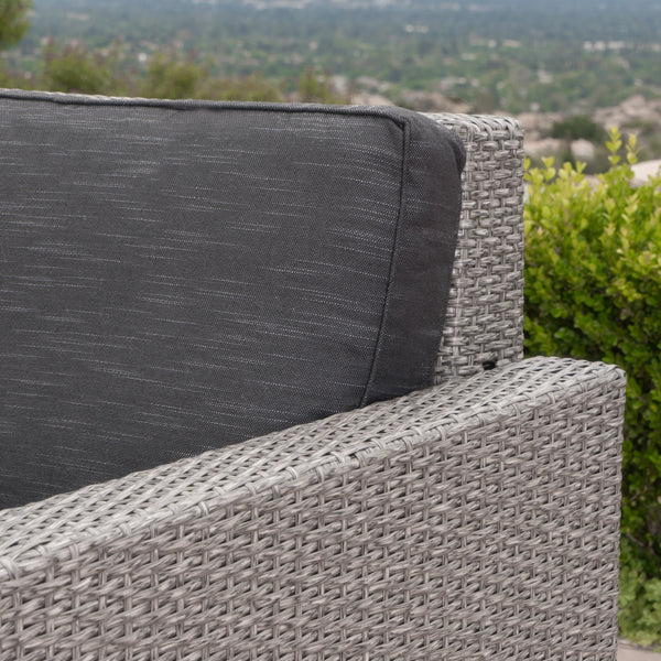 Syros Outdoor Wicker Sofa Set With Ceramic Water Resistant Cushions