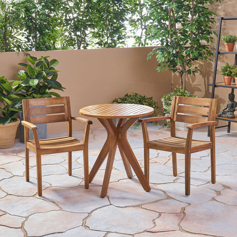 St. Marta Outdoor 3 Piece Acacia Wood Bistro Set With Cross Legged Bistro Table