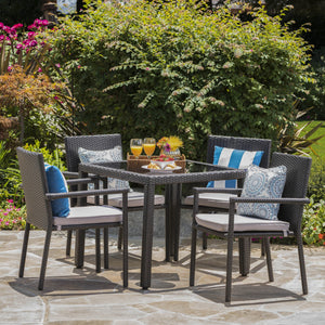 San Diego Outdoor 5 Piece Square Wicker Dining Set With Water Resistant Cushions