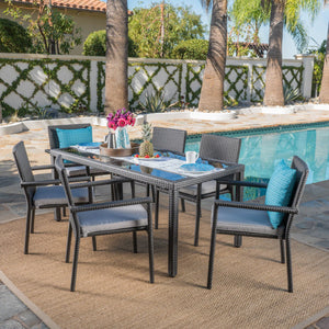 San Diego Outdoor 7 Piece Wicker Rectangular Dining Set With Water Resistant Cushions