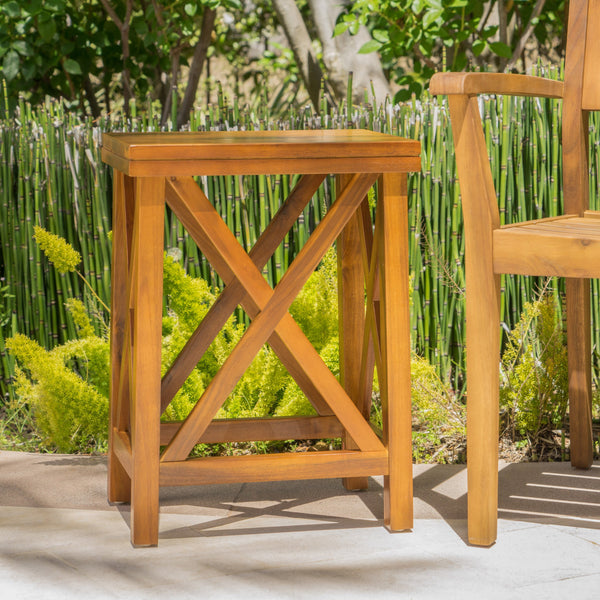 Alvin Teak Acacia Wood Accent Table