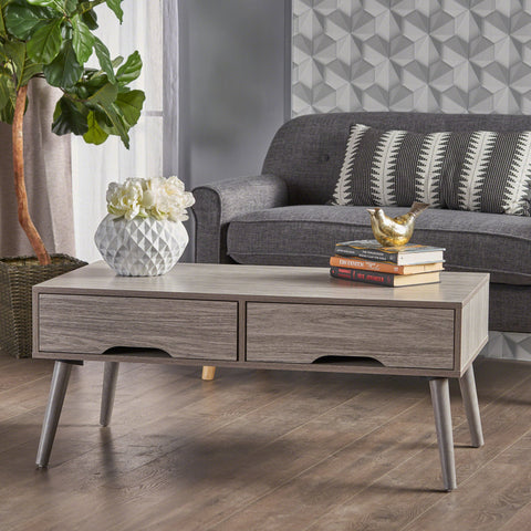 Niran Mid Century Modern Finished Fiberboard Coffee Table