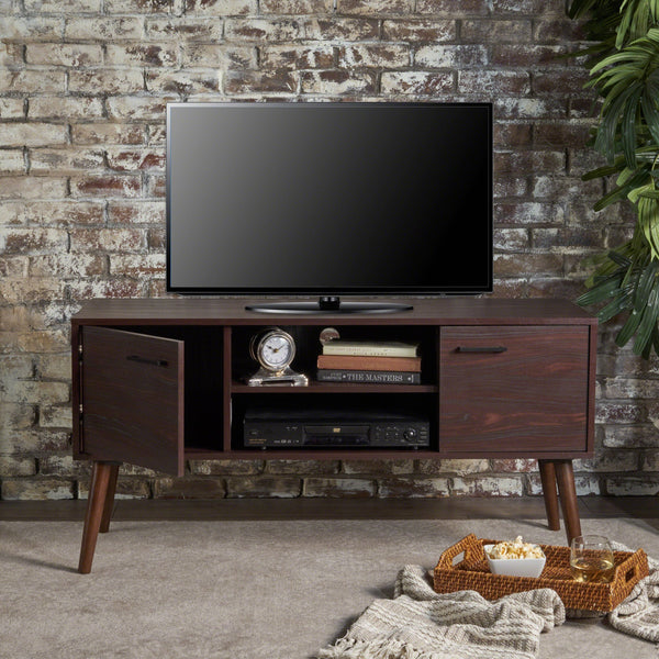 Amaia Mid Century Modern Finished Fiberboard Entertainment Center