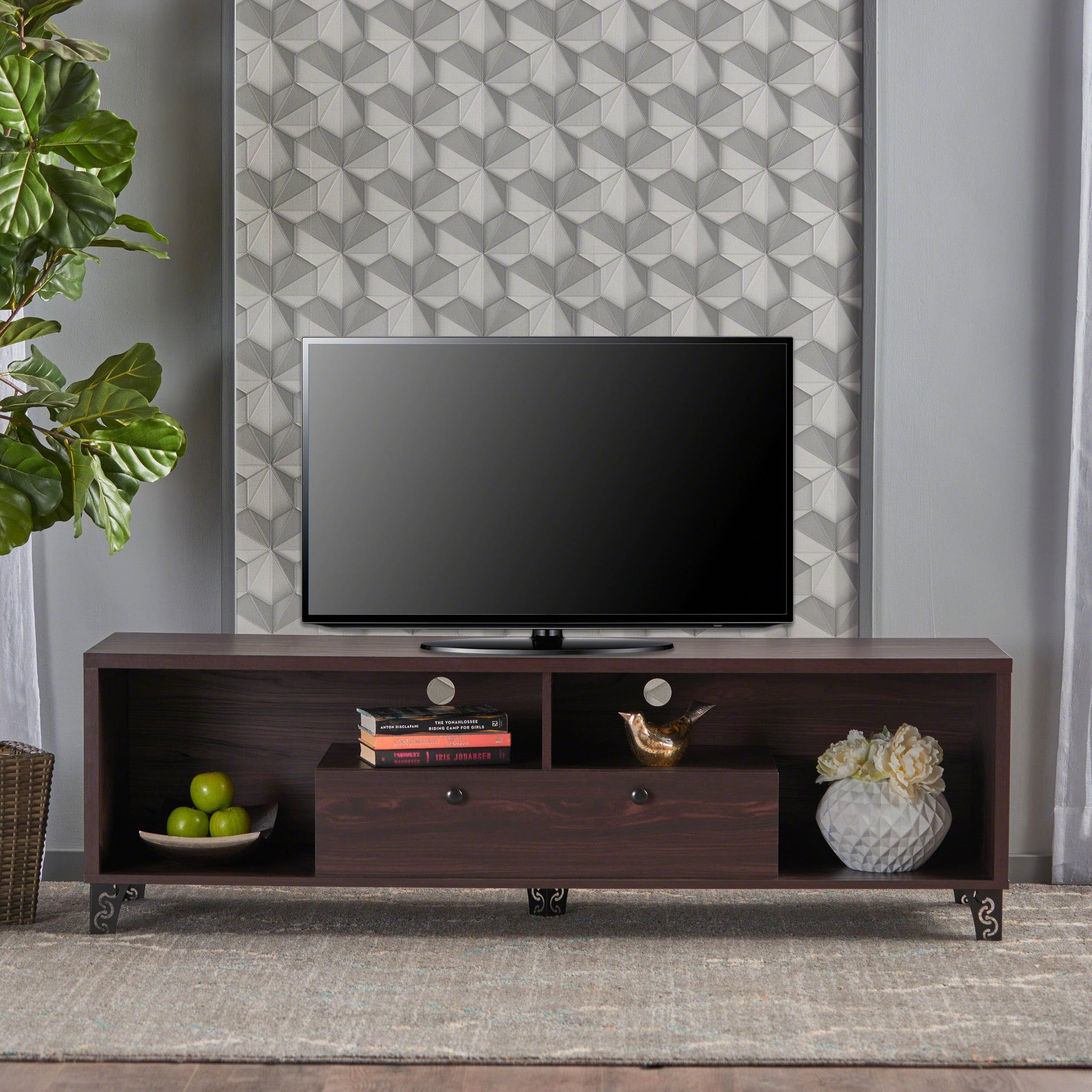 Cedros Mid Century Modern Finish Fiberboard Entertainment Unit