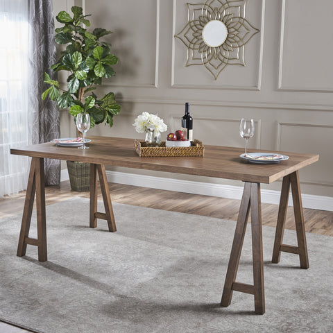 Rylan Farmhouse Natural Finish Wood Dining Table