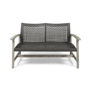 Hamburg Outdoor Wood And Wicker Loveseat