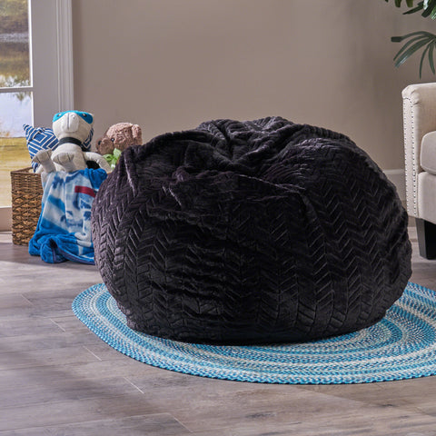 Malvina 3 Ft Faux Fur Beanbag | Color: Black, Color: Black Pattern