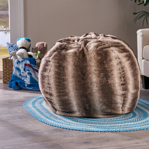 Leona 3 Ft Faux Fur Beanbag | Color: Brown, Color: Brown Stripe