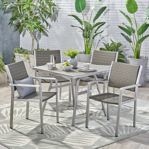 Albeon Outdoor 5 Piece Aluminum/ Wicker Dining Set