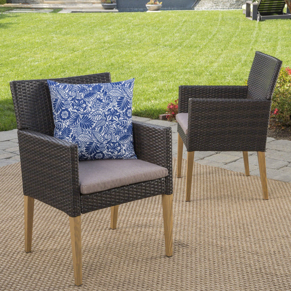 Bardow Outdoor Wicker Dining Chairs With Wood Finished Legs And Water Resistant Cushions (Set Of 4)
