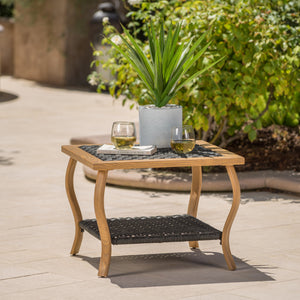 San Antonio Outdoor Wicker Coffee Table With Wood Finished Metal Legs