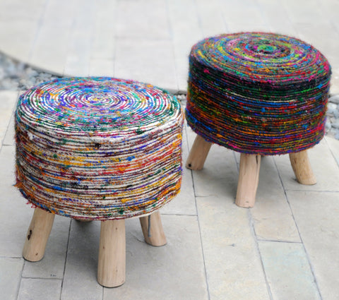 Sienna And Swirl Fabric Stool