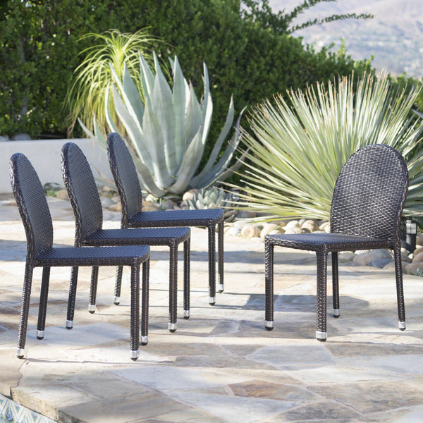 Augustus Outdoor Wicker Stacking Chairs With An Aluminum Frame (Set Of 4)