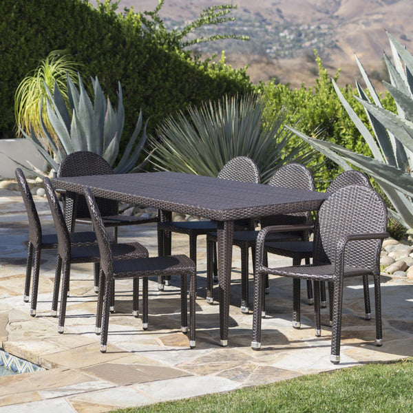 Augustus Outdoor 9 Piece Wicker Dining Set With Armed And Armless Aluminum Framed Stacking Chairs
