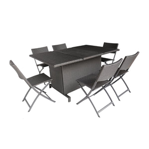 Maisy Outdoor 7 Piece Foldable Wicker Dining Set