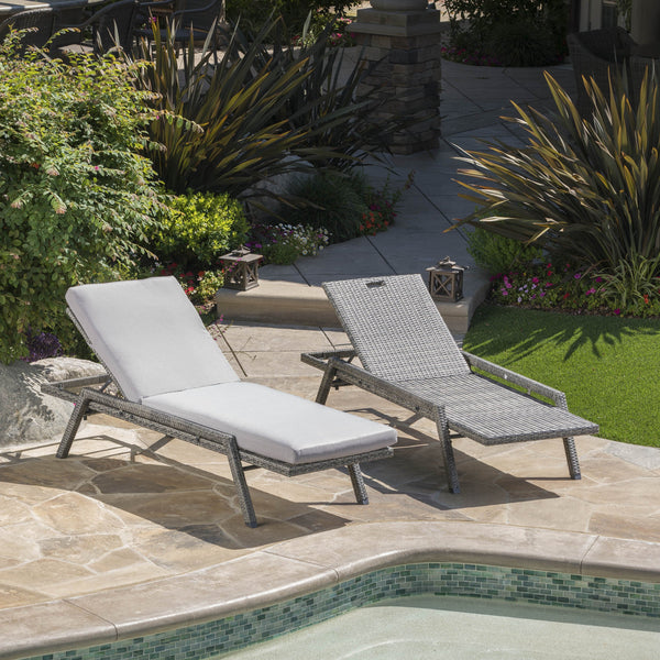Feldspar Outdoor Wicker Chaise Lounge With An Aluminum Frame And Water Resistant Cushion (Set Of 2)