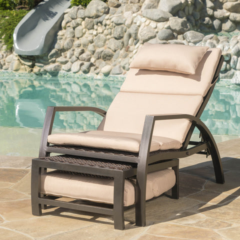 Naiad Outdoor Tan Lounge With An Aluminum Frame And Water Resistant Cushion