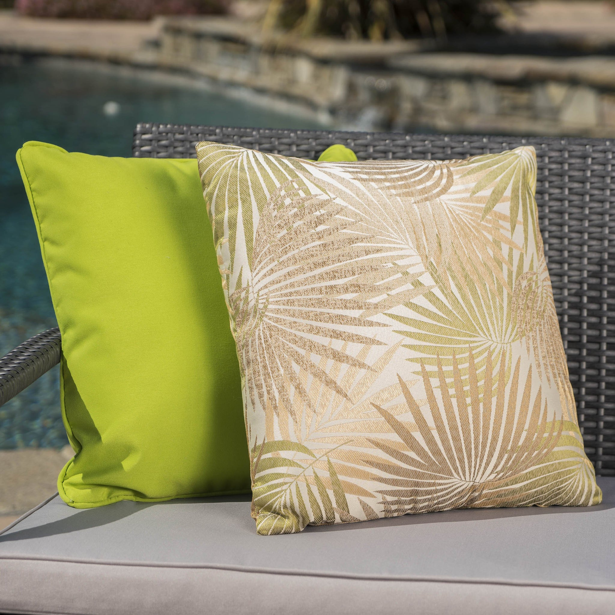 Cornelius Outdoor Square Tropical Sand And Water Resistant Pillow Set